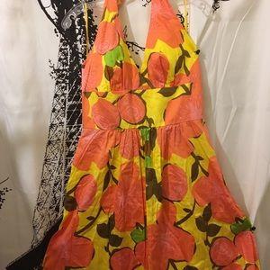 Trina Turk Floral Halter Dress Wide Waist Size 12